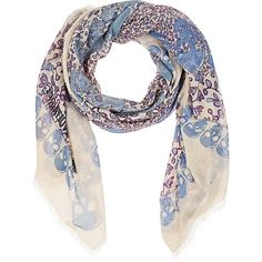 Zadig et Voltaire Women's Kerry Skull-Print Gauze Scarf (430 RON) ❤ liked on Polyvore featuring accessories, scarves, sheer shawl, skull scarves, gauze scarves, square scarves and sheer scarves