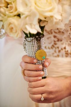 bridal bouquet -- with a locket in remembrance of her father