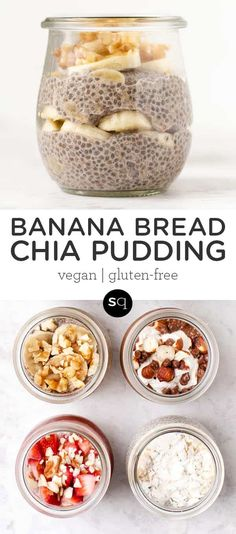 How to make Banana Bread Chia Pudding! This quick and easy breakfast recipe is packed with protein, filling and delicious! Only takes 5 minutes of prep and then leave in the refrigerator overnight to enjoy a gluten-free and vegan breakfast. Healthy Food Choices, Good Healthy Recipes, Healthy Breakfast Recipes, Whole Food Recipes, Healthy Snacks, Cooking Recipes, Chia Recipe, Make Banana Bread, Chia Pudding