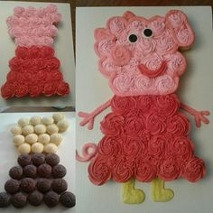 Peppa Pig Cupcakes #peppapigtheme #cupcakes #cupcakecake