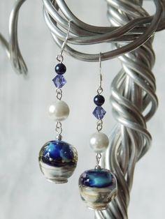 Artisan Hand-made Lampwork Glass Bead Hyacinth Dream Earrings. $45.00, via Etsy.