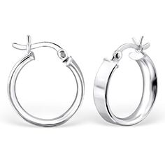 925 Sterling Silver 16mm Thick French Lock Hoop Earrings 23905 To View Further For