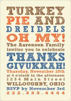 Thanksgivukkah Invitations. www.dudsbydudes.com