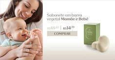 O sabonete em barra vegetal Mamãe e Bebê limpa com suavidade sem agredir a pele do bebê. Aproveite e compre online com desconto especial. Promoção válida até 20/Jun ou enquanto durarem os estoques.  Natura Mamãe e Bebê 20% de desconto.