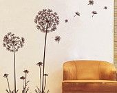dandelion in the wind----wall decal, stickers,vinyl stickers,nature decal,bedroom decal,setting room decal, back wall decal