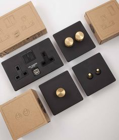 Our exclusively created range of black & silver switches and sockets is made up of matt black plates with silver details. Has concealed fittings. Modern Light Switches, Designer Light Switches, Light Switches And Sockets, Vintage Light Switches, Black Light Switch, Toggle Light Switch, Switch Plates, Switch Plate Covers, Light Switch Covers