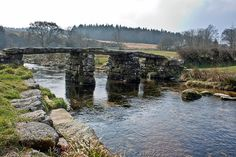 Ancient clapper bridge at Postbridge, Dartmoor, Devon