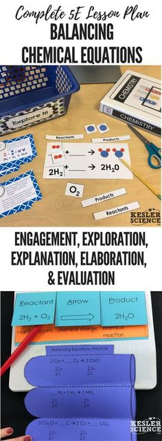 Balancing Chemical Equations 5E Lesson Plan ready to print and teach the entire chemistry unit. Includes word wall of vocabulary, interactive science notebook template, presentation and note worksheet, and student choice final project. Complete station lab activity is also included where students will read, research, watch, explore, illustrate, organize, write, and be assessed. Grades 5th 6th 7th 8th 9th