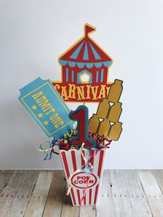 Carnival Birthday Party Centerpiece, Circus Birthday Centerpiece, Age Carnival Centerpiece, Red and Yellow Centerpiece Celebrate a special birthday with this adorable Carnival Party Centerpiece. Carnival Birthday Cakes, Circus Carnival Party, Circus Theme Party, Circus Birthday, Boy Birthday Parties, Special Birthday, Carnival Parties, Birthday Ideas, Carnival Tent
