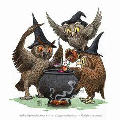 Eugene Arenhaus. Daily Owl. Watercolor. Arenhaus Art on Facebook.