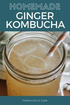 recipe for homemade ginger kombucha. Ginger kombucha is delicious and makes a great mixer for summer cocktails and mocktails! Kombucha Flavors, Probiotic Drinks, Kombucha Tea, Oil Pulling, Kimchi, Kombucha Beneficios, Eat Better, Fermentation Recipes, Homebrew Recipes
