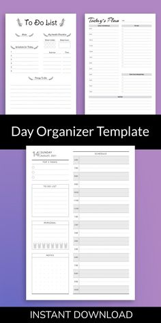 Day Organizer Template will help you to organize your schedule. Get it now in PDF format and enjoy professionally-designed template. All planners are available in four sizes: A4; A5; US Letter Size; Half Letter Size. They are can use for your iPad. #planner #happy #days #scheduler #templates Daily Planner Printable, Planner Pages, Planner Inserts, Planner Template, Goals Planner, Happy Planner, Letter Size, As You Like, Templates