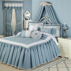The cotton Devotion Steel Blue Crochet Grande Bedspread brings to life the style of bygone times. Crochet bedspread is steel blue with a vermicelli-quilted. Handmade Bed Sheets, Diy Bed Sheets, King Size Bed Sheets, King Bedding Sets, King Sheet Sets, Comforter Sets, Superking Bed, Bedroom Bed, Bedroom Decor