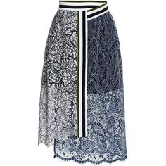Preen By Thornton Bregazzi Lace Amara Skirt In Navy And White Skirt Outfits, Dress Skirt, Lace Skirt, Midi Skirt, Jupe Short, Asymmetrical Skirt, Stripe Skirt, Fashion Outfits, Womens Fashion