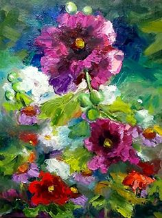 "Landscape Artists International: Flower Paintings, Flower Landscape, Red Fushia Flowers, ""Fushia"" by Texas Contemporary Fine artist Lunell G..."