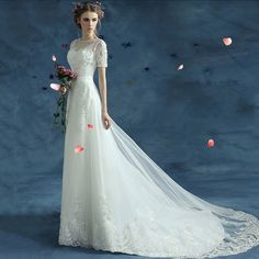 Robe de Mariee 2017 Vestido de Noiva Elegant Embroidery Organza Short Sleeve A-Line Slim Wedding Dress Long Robe de Mariage