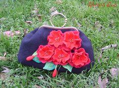 Wet Felted handbag-Red Black on Metal by YuliasFeltworld on Etsy