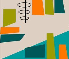 Mid-Century Modern Space Age fabric by egnatz on Spoonflower - custom fabric Mid Century Modern Art, Mid Century Art, Mid Century Design, Modern Spaces, Mid-century Modern, Modern Color Palette, Space Age, Retro Futurism, Modern Graphic Design