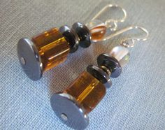 Unusual 1.5 Inch DROP Earrings Gold Glass by Igottahaveitnecklace