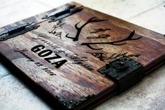 Rustic Wedding Guest Book W/ Antlers, Custom Personalized Wooden Book W/ Leather Spine Leather Clasp, Wooden Journal with Antlera