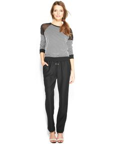 TWO by Vince Camuto Dot-Print Sweatshirt & Vince Camuto Drawstring Pants - Women - Macy's