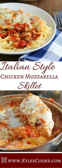 A rich, tomato based sauce made from scratch, linguine pasta, and chicken - all topped with melty mozzarella cheese. What is not to love?   via @kyleecooks