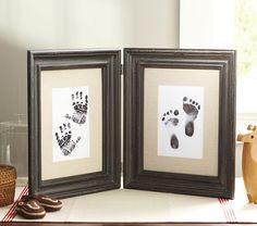framed handprint and footprint art