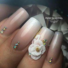 3d Nail Designs, Colorful Nail Designs, Acrylic Nail Designs, Romantic Nails, Elegant Nails, Summer Acrylic Nails, Best Acrylic Nails, Rose Nails, Flower Nails