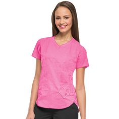 aeb62b5c4fe Show your support for Breast Cancer Awareness with this fun and flirty  V-Neck Scrub Top from Pink for a Purpose by heartsoul. A classic V-neckline  and ...