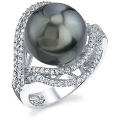Tahitian South Sea pearl & Diamond Clara Ring ($2,149) ❤ liked on Polyvore featuring jewelry, rings, black, pendant jewelry, 18 karat gold ring, south sea pearl ring, 18 karat gold jewelry and diamond jewellery