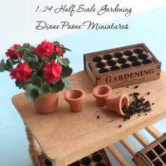 miniature gardening: 1 24 Scale Red Geranium Potted Plant Dollhouse Miniature Garden Flowers   eBay
