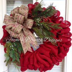 Red Burlap Christmas Wreath Wreath Crafts, Wreath Ideas, Burlap Crafts, Burlap Projects, Burlap Christmas Wreaths, Fall Wreath Burlap, Winter Wreaths, Burlap Wreaths For Front Door, Homemade Christmas Wreaths