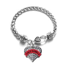 UNLV Rebels Pave Heart Bracelet