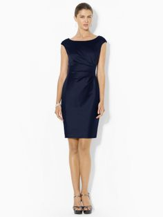 Pleated Boatneck Dress - Mid Length Dresses Dresses - Ralph Lauren UK