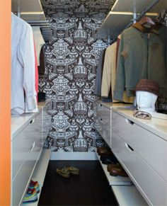 Fascinating Ikea Closet Design for Main Closet Design of Bedroom: Adorable Modern Closet Idea Beautified With Brown Patterned Wallpaper Cove.
