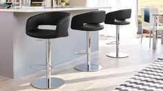 Savina Chrome Gas Lift Bar Stool in black from Danetti.