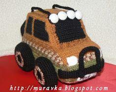 Разноцветное счастье: Внедорожник - вязаная машина Crochet Car, Crochet Food, Crochet For Kids, Crochet Crafts, Crochet Projects, Amigurumi Toys, Amigurumi Patterns, Knitting Patterns, Crochet Patterns