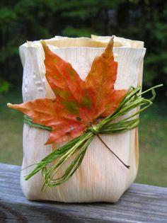 morning sun rae: corn husk candle holder