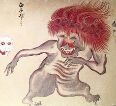 """赤がしら Aka-gashira, shining red head monster, from """"The Hundred Demons′ Night Parade""""『百鬼夜行絵巻』(松井文庫所蔵版)"""