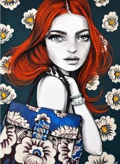 The full illustration I submitted to the x open call featuring redhead beauty Please check out winning entry, she was so deserving of the win! Face Illustration, Illustration Artists, Illustration Styles, Big Eyes Artist, Fashion Sketches, Fashion Illustrations, Art Illustrations, Pattern Fashion, Cute Art