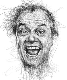 Artist Vince Low has turned once-aimless doodling into Scribble Art, which is an advanced art form of penmanship. Described as Scribbles with life, Vince Low's works are invariably in portrait form. Portrait Au Crayon, Pencil Portrait, Portrait Art, Image Cinema, Vince Low, Art Du Monde, Scribble Art, Face Illustration, Arte Sketchbook