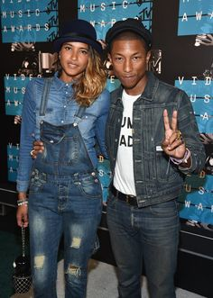 Pin for Later: See All the Stars on This Year's MTV VMAs Red Carpet! Pharrell Williams and Helen Lasichanh