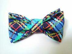Multicolored bow tie  Plaid bow tie  Men bow tie by GabeAndJuju