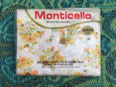 60's Cannon Monticello Queen Size Flat Sheet - White with Mixed Mod Flowers by ElkHugsVintage on Etsy