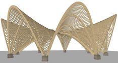 Pergola Kits With Canopy Parametric Architecture, Architecture Sketchbook, Pavilion Architecture, Architecture Design, Bamboo House Design, Bamboo Building, Bamboo Structure, Trophy Design, Pavilion Design
