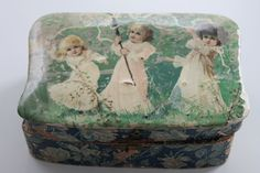 Vintage Celluloid Jewelry Box Victorian Children by PeggysTrove, $75.00