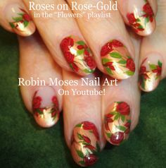 Nail Art | Easy Red Roses | DIY nail Tutorial on Rose Gold Design