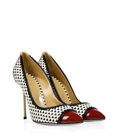 sergio rossi woven leather cap toe stilettos
