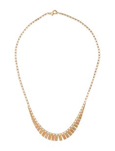 14K white, yellow and rose gold link necklace with tiered features at collar and spring ring closure.