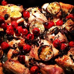 Baked Chicken with Cherry Tomatoes, Lemon, Olives and Capers